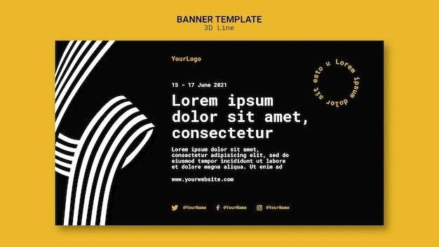 Banner template with three-dimensional lines