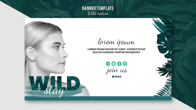 Banner template with wild nature theme