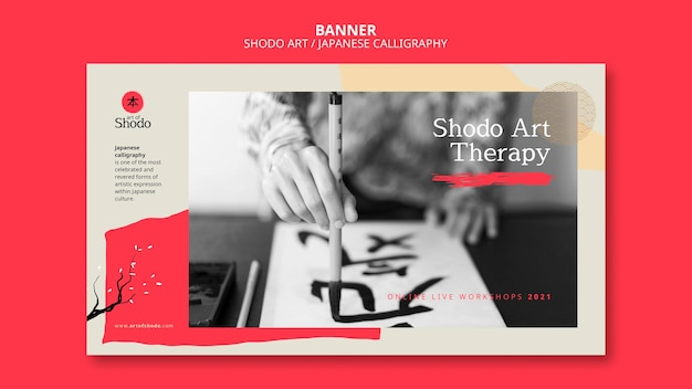 Banner template with woman practicing japanese shodo art