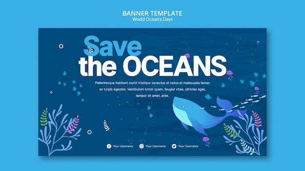 Banner template with world ocean day concept