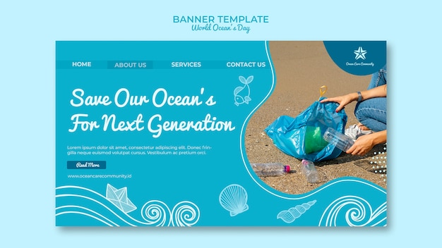 Banner template with world ocean day design