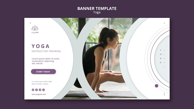 Banner template with yoga design
