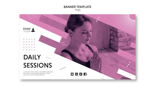 Banner template with yoga theme
