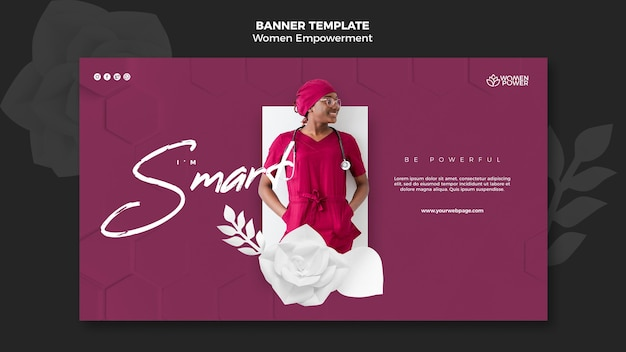 Banner template for women empowerment with encouraging word