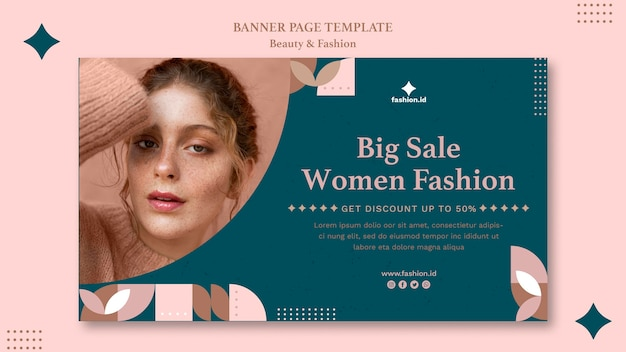 Banner template for women's beauty and fashion