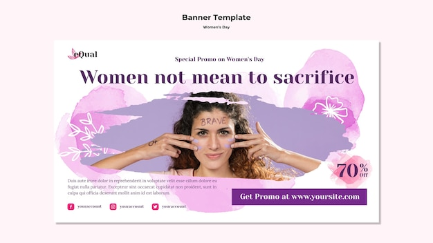 Banner template for women's day celebration
