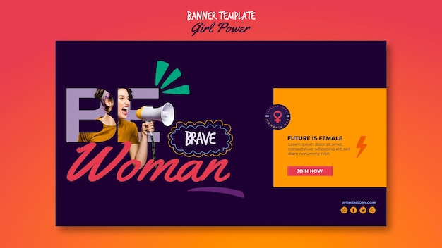 Banner template for women's day with inspiring words