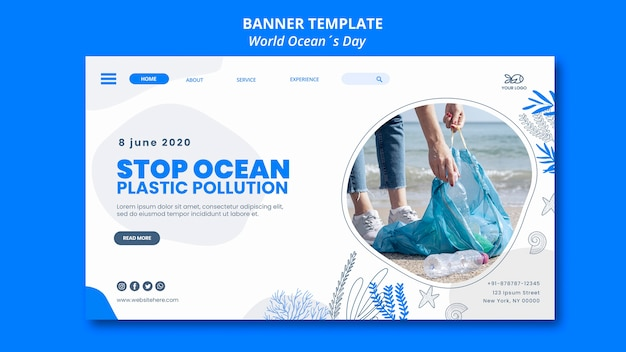 Banner template world ocean's day