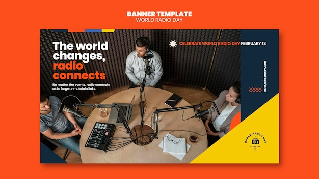 Banner template for world radio day with broadcaster and microphone