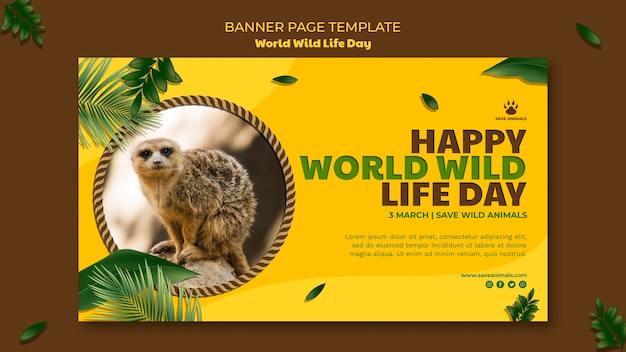 Banner template for world wildlife day with animal Free Psd