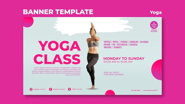 Banner template for yoga class with woman