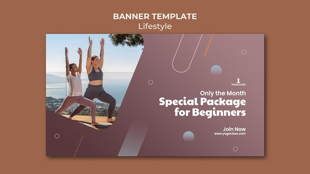 Banner template for yoga practice and exercise