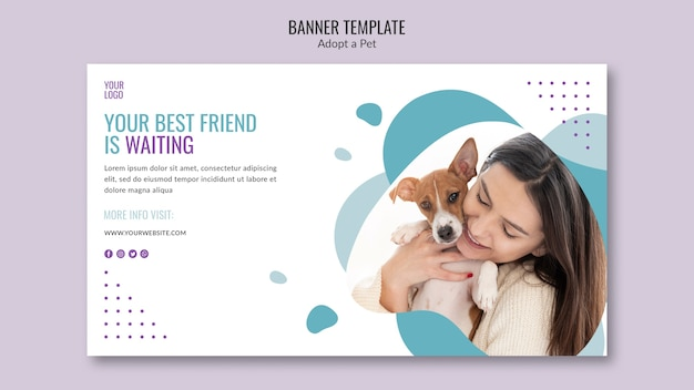 Banner theme with pet adoption concept