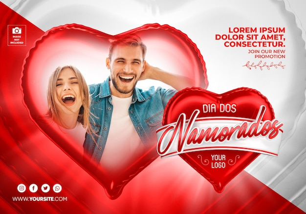Banner valentines day in brazil 3d render template design