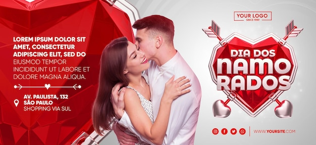 Banner valentines day in portuguese 3d render