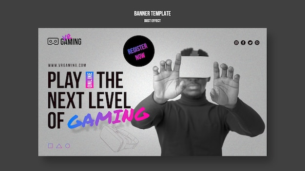 Banner virtual reality gaming template