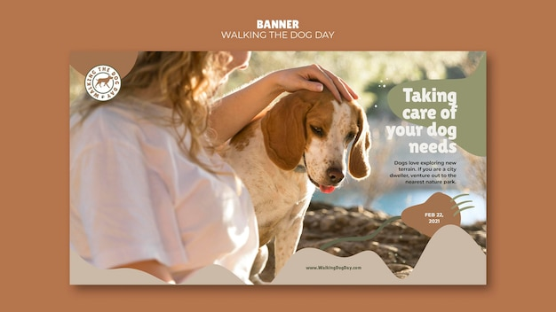 Modello di annuncio per banner walking the dog day