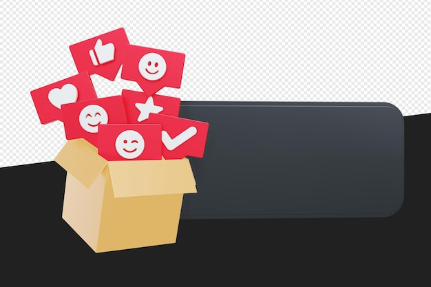 Баннер с картоном или коробкой и пузырем текстового символа социальных медиа изолированы