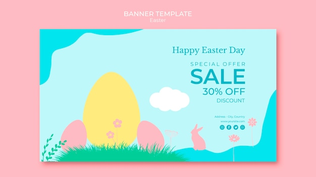 Banner with easter sales theme