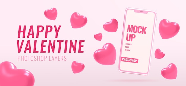 Banner with phone mockup for valentine with heart shapes