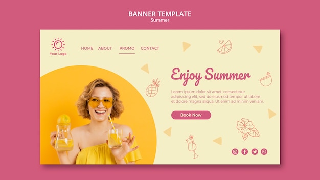 Banner with summer party template design