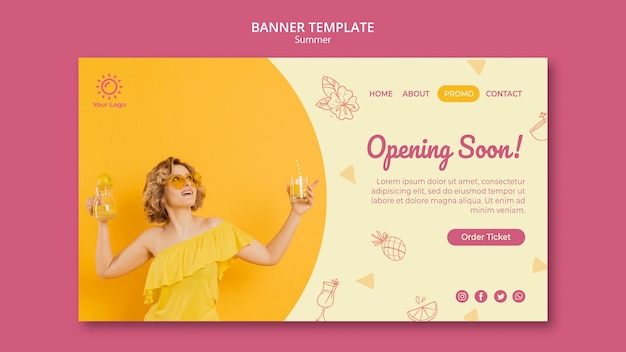 Banner with summer party template