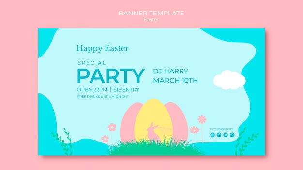 Banner with thematic easter day