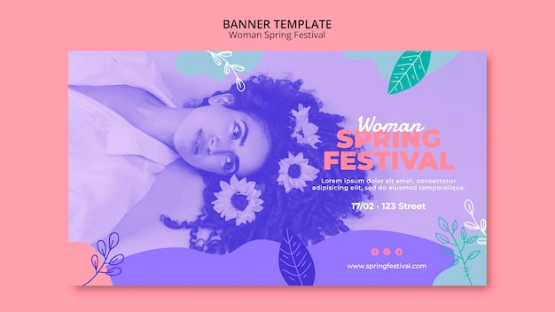Banner with woman spring festival concept