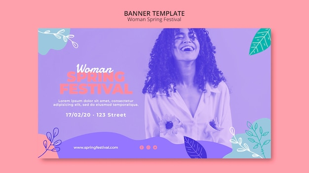 Banner with woman spring festival theme