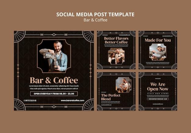 バーとコーヒーのソーシャルメディアの投稿