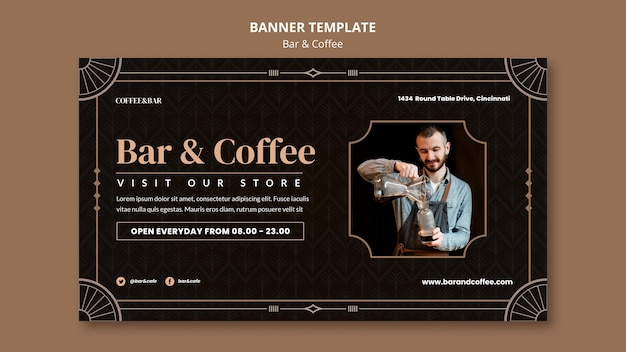Bar and coffee banner template