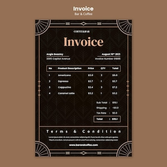 Bar and coffee invoice template