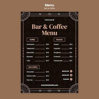 Modello di menu bar e caffè