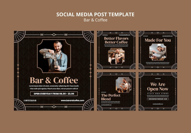Post sui social media di bar e caffè