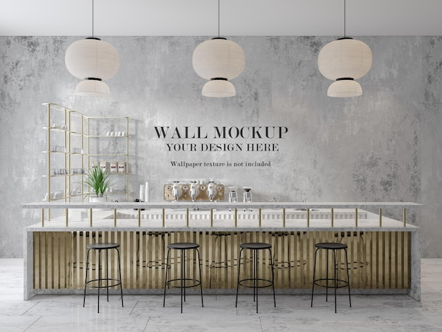 Bar counter wall mockup in 3d rendering