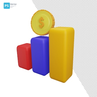 3dイラストレーションデザイン資産の棒グラフとコイン