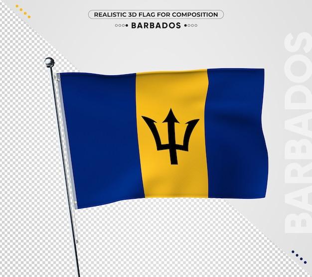 Флаг барбадоса с реалистичной текстурой