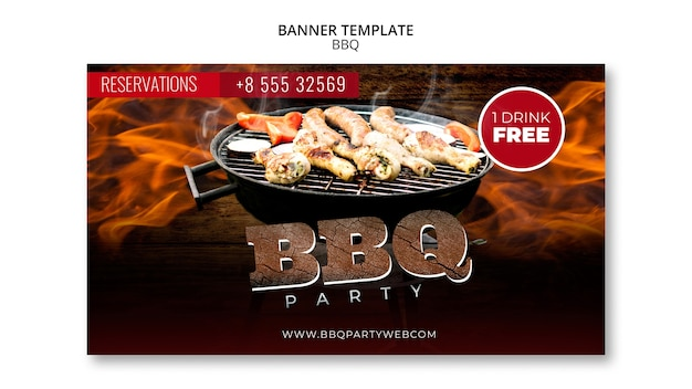 Barbecue party banner template