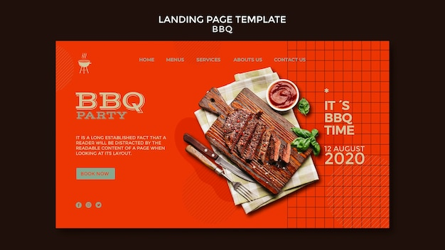 Barbecue party landing page template