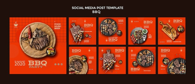 Barbecue party social media post template