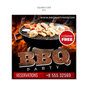 Barbecue party square flyer template
