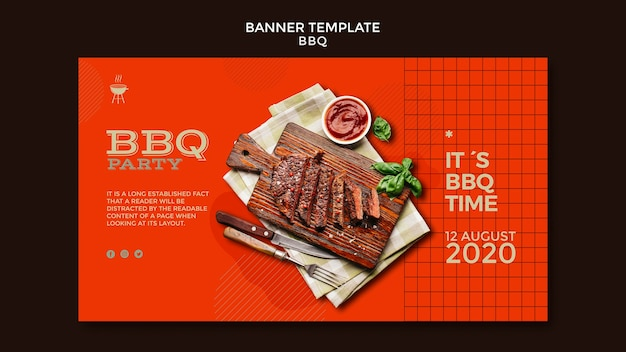 Barbecue party template banner