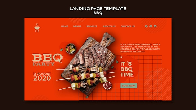 Barbecue party template landing page