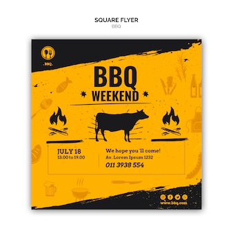 Barbecue square flyer template