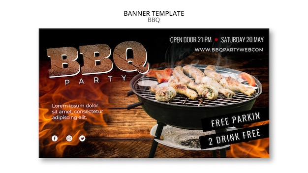 Barbecue template party banner