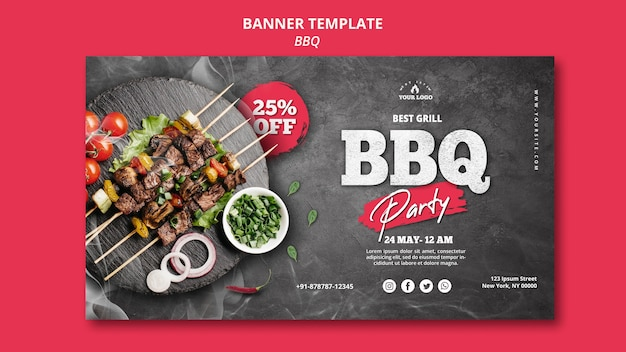 Barbeque banner template concept