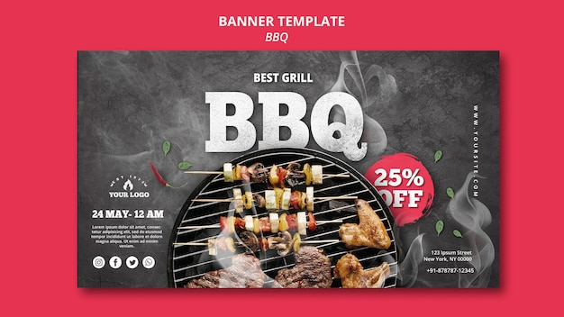 Barbeque banner template design