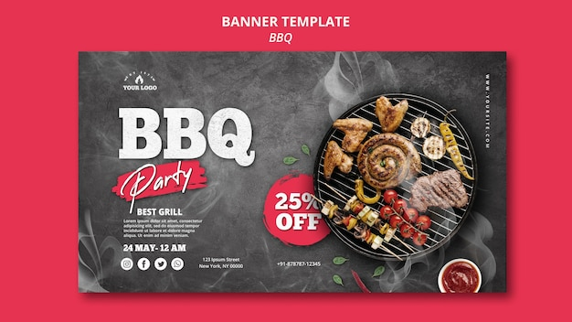 Barbeque banner template theme