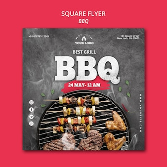 Barbeque flyer template concept