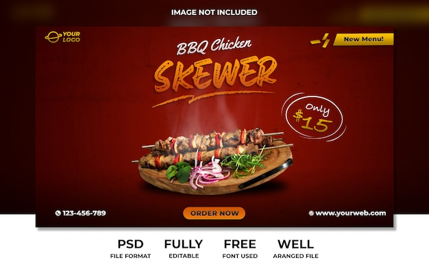 Barbeque skewer chicken website banner social media